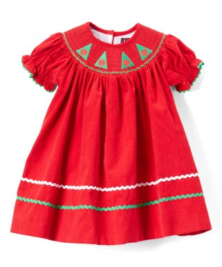 lil cactus red christmas tree corduroy smocked shift dress infant toddler girls - Smocked Christmas Dress