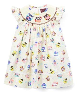 cream owl smocked angel sleeve dress infant toddler girls