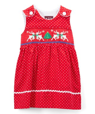 red christmas tree reindeer corduroy smocked a line dress infant toddler girls
