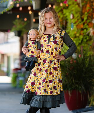 mustard yellow and burgundy and dark green roses amber peasant dress 18 doll dress girls