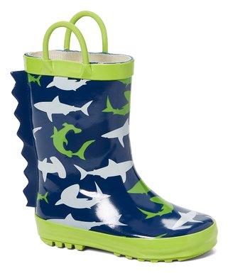 6f3922e884cd Blue   Green Shark Rain Boot - Kids