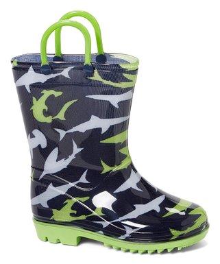 0bec5cb3558f Navy Shark Rain Boot - Boys