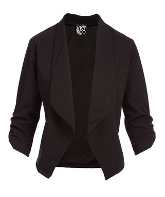 4d579887311 Black Crepe-Knit Three-Quarter Sleeve Open Blazer - Plus