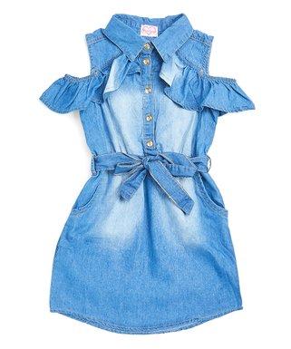 fdc52078034 Denim Cold-Shoulder Belted Dress - Girls