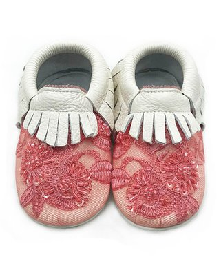 d32ef36c8f5d Pink   White Fringe   Embroidered Flower Soft-Sole Leather Booties - Girls