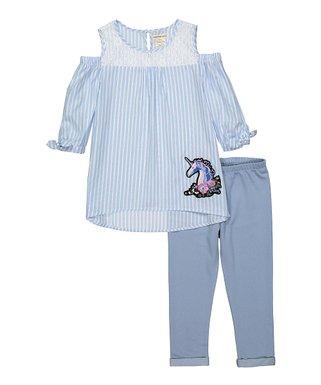 59ae391e7e85 Blue & White Gingham Butterfly Cold-Shoulder Tunic & Denim Leggings - Girls