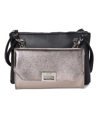 Jones New York   Black   Gunmetal Elsa Crossbody Bag   Clutch Set 7bf454d555