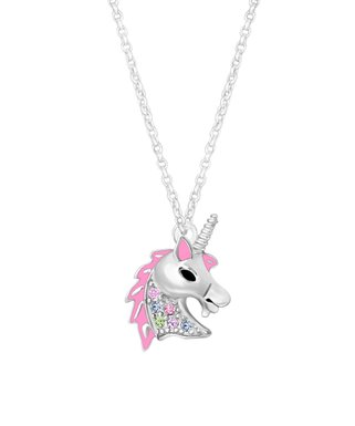 cb68e5149 Pink Crystal & Silvertone Unicorn Pendant Necklace
