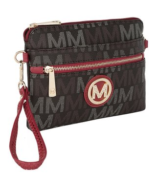 Brown Red Logo Zip Crossbody Bag