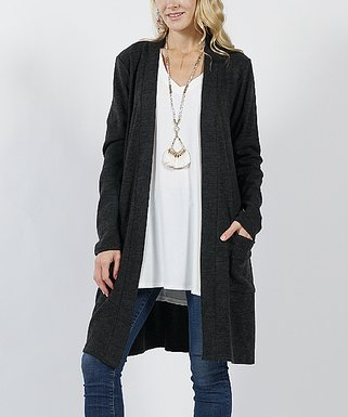 1a64b344cbc44 Black Brushed Two-Pocket Cardigan - Women