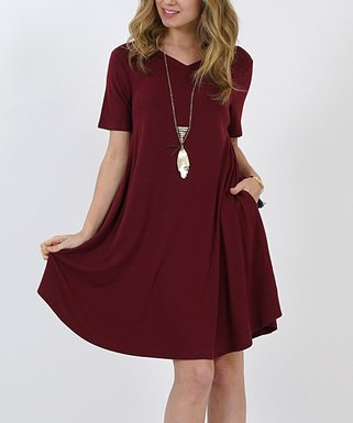 fc5ba7f3c33 Dark Burgundy V-Neck Short-Sleeve Curved-Hem Pocket Tunic Dress - Women