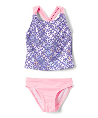 2970ab6921 Freestyle Revolution | Purple & Pink Sparkling Fish Scale Tankini - Girls