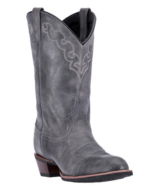 5bb16e40a6 Dingo | Gray Embroidered Koval Broad Toe Leather Boot - Men