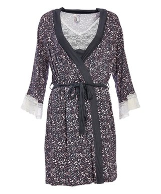 a056ab7cc29b7 Lamaze Maternity Intimates | Graphite Abstract Lace Maternity Travel Robe &  Chemise Set