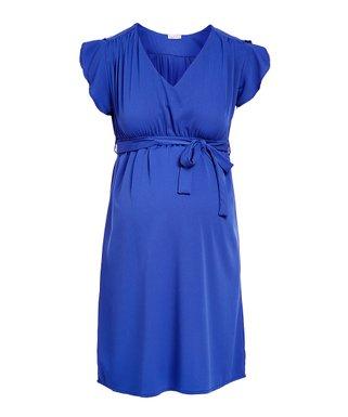5e477e000d Cobalt Flutter-Sleeve Maternity Empire-Waist Dress