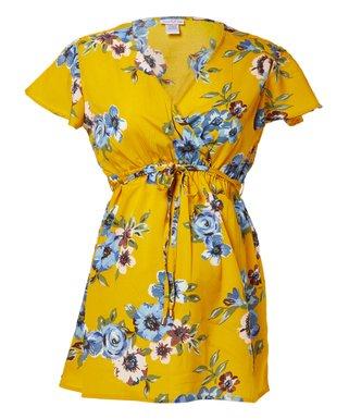 fcbab7c63a2 Mustard Floral Nursing Flutter-Sleeve Surplice Top