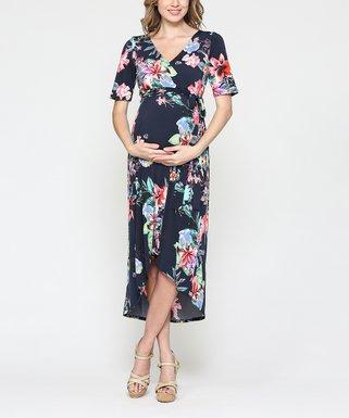 f010148b43af6 Hello Miz Maternity | Navy Floral Hi-Low Maternity/Nursing Wrap Dress -  Women