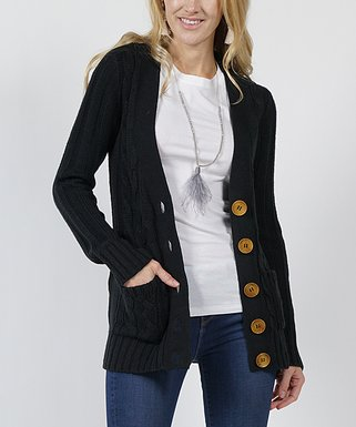 1a9c472fa5 Black Cable-Knit Large-Button Cardigan - Women