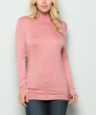 8f40c045ce2 Avenue Hill   Dark Pink Long-Sleeve Mock Neck Top - Women