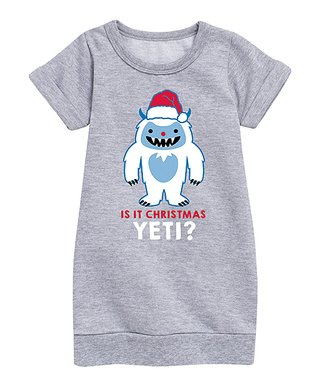 athletic heather is it christmas yeti sweatshirt dress toddler