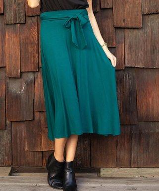 826f02a111 Teal Tie-Waist Midi Skirt - Women & Plus