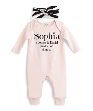 69de6425c Pink 'Production' Personalized Playsuit & Black Stripe Headband - Newborn &  Infant