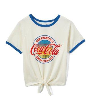bc61e1c4106f9 Coca-Cola Egret   Blue  San Francisco  Tie-Waist Ringer Crop Top