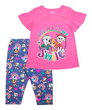 d9dd6bc50f2a9 PAW Patrol Pink 'You Make Me Smile' Angel-Sleeve Top & Capri Leggings