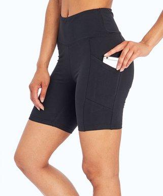 4d21543e66697 Black High-Waist Pocket Tummy-Control Bike Shorts - Women