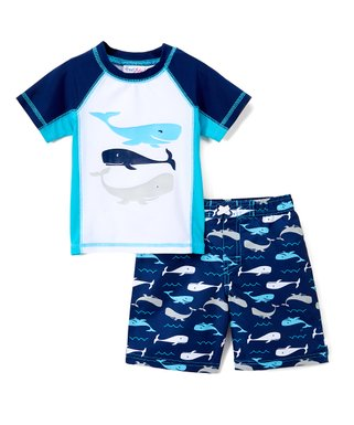 5c35256bf9e40 Blue & White Whale of a Tail Rashguard & Boardshorts - Infant & Toddler