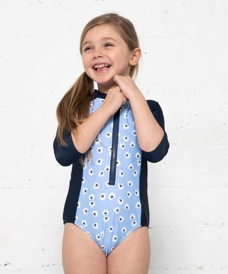 0149717c78 Blue & Navy Daisy Color Block One-Piece Rashguard - Toddler & Girls