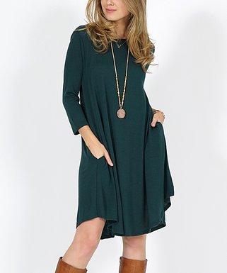 6f574ddfad89 Lydiane   Hunter Green Lightweight Pocket Sweater Dress - Women