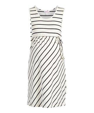 96f89c1f44be2 Off-White & Black Stripe Maternity Empire-Waist Dress