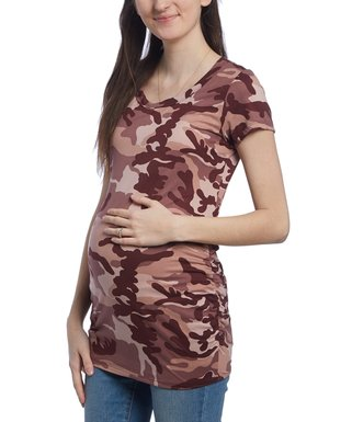 6fb5f5ec57d59 Mom & Co | Wine Camo Ruched-Side Maternity Scoop Neck Top
