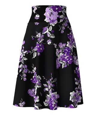 75e77f04b70 Black   Violet Floral Tummy-Control A-Line Skirt - Women   Plus