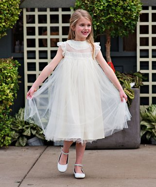 Ivory Ruffle Magnolia Angel-Sleeve Dress - Toddler   Girls 5f7101b742