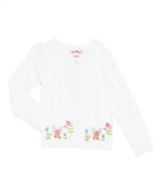 b9867040 White & Pink Floral Cardigan - Girls