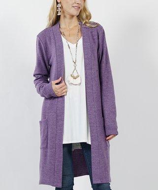 ab2180e16f Lilac Gray Brushed Two-Pocket Cardigan - Women   Plus