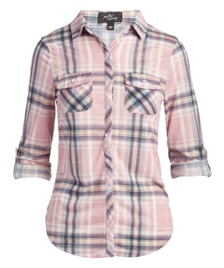 3c0eaba2 Blush Plaid Roll-Tab Button-Up - Women