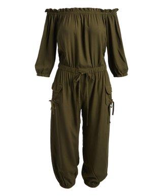 5d9da0d4a82 Olive Off-Shoulder Tie-Waist Jumpsuit - Women