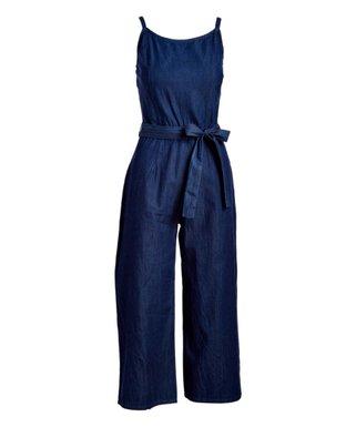 4b462d60c1ec Dark Wash Tie-Waist Wide-Leg Jumpsuit - Women