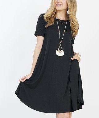 74d46b133d4c32 Black Crewneck Short-Sleeve Curved-Hem Pocket Tunic Dress - Women & Plus
