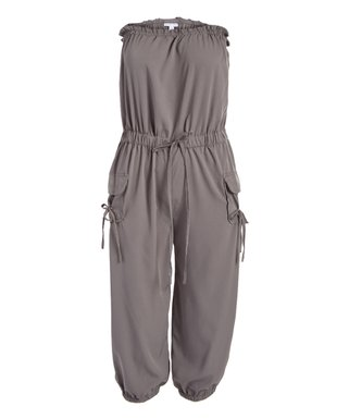 33158e077aa7 Charcoal Tie-Waist Strapless Jumpsuit - Women