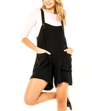3ae2e5234e0 Black Pocket Overall Romper - Women
