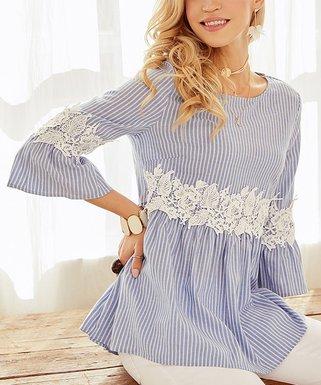 29f233c358e Blue & White Stripe Lace-Accent Empire-Waist Tunic - Women & Plus