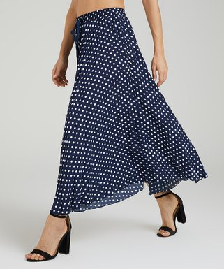 b9db13cba4 Navy & White Dot Midi Skirt - Women & Plus