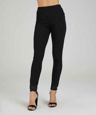 653d42b3bf0 Black Lace-Trim Ponte Leggings - Women   Plus