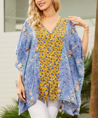 10f6533507f Blue   Yellow Floral Contrast V-Neck Hi-Low Tunic - Women   Plus