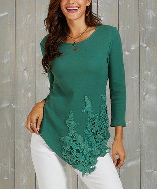 cbf7bad7c72 Green Lace-Accent Asymmetrical-Hem Thermal Tunic - Women   Plus