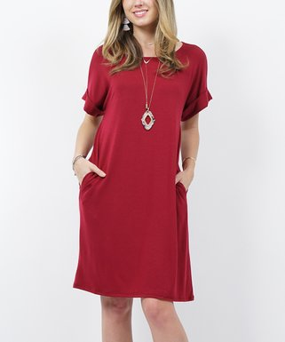 dc00bb51a Cabernet Round-Neck Rolled-Cuff Pocket T-Shirt Dress - Women & Plus